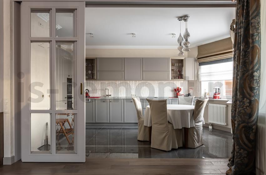 Дизайн проект и ремонт жилой квартиры. Кухня гостиная.